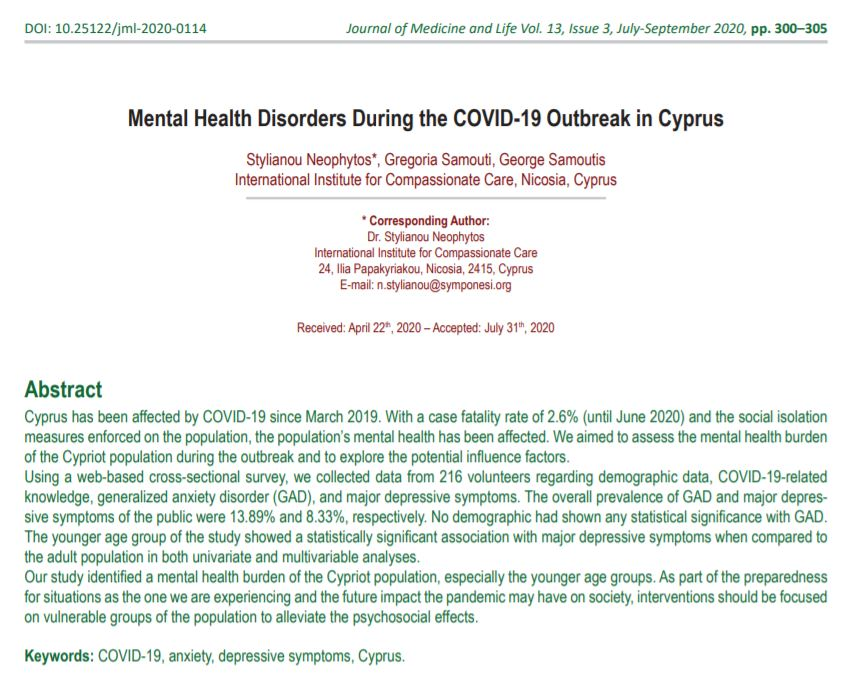 Mental Health Disorders During the COVID-19 Outbreak in Cyprus