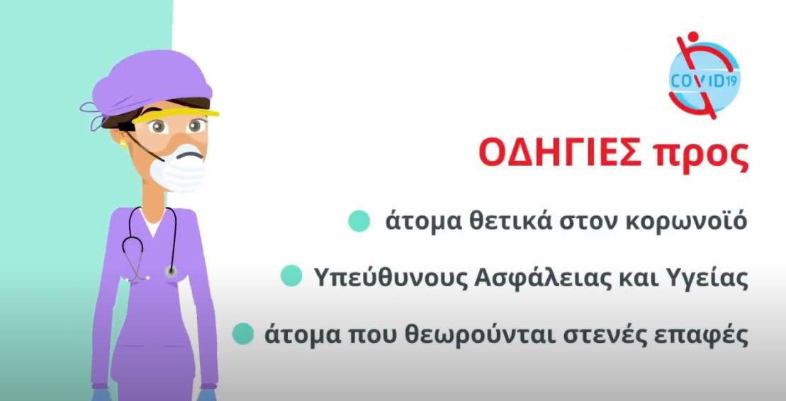 Οδηγίες προς άτομα θετικά στον κορωνοϊό, στενές επαφές και υπεύθυνους ασφάλειας και υγείας